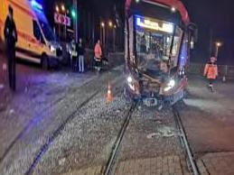 16 people were injured: the moment of the collision of a bus and a tram in St. Petersburg got into the network